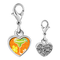 Link Charm Bracelet - 925  sterling silver drink and flowers photo heart frame link charm Image.