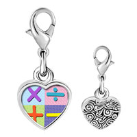 Link Charm Bracelet - 925  sterling silver add subtract multiply divide sign photo heart frame link charm Image.