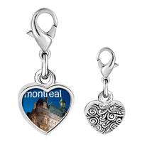 Link Charm Bracelet - 925  sterling silver montreal photo heart frame link charm Image.