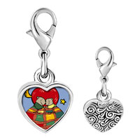 Link Charm Bracelet - 925  sterling silver cute husband and wife bears photo heart frame link charm Image.