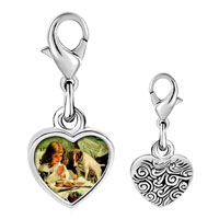 Link Charm Bracelet - 925  sterling silver girl and puppy photo heart frame link charm Image.