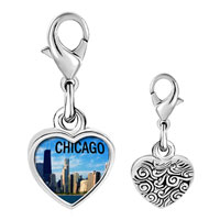 Link Charm Bracelet - 925  sterling silver chicago photo heart frame link charm Image.