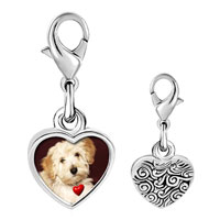 Link Charm Bracelet - 925  sterling silver puppy with red heart photo heart frame link charm Image.