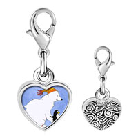 Link Charm Bracelet - 925  sterling silver polar bear and penguin photo heart frame link charm Image.