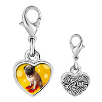 Link Charm Bracelet - 925  sterling silver puppy in red high heel shoe photo heart frame link charm Image.