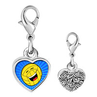 Link Charm Bracelet - 925  sterling silver laughing and sparking football photo heart frame link charm Image.