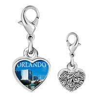 Link Charm Bracelet - 925  sterling silver orlando city scenery photo heart frame link charm Image.