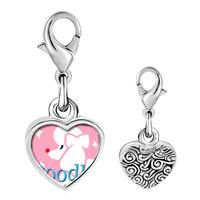 Link Charm Bracelet - 925  sterling silver poodle photo heart frame link charm Image.