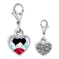 Link Charm Bracelet - 925  sterling silver girl in costume photo heart frame link charm Image.
