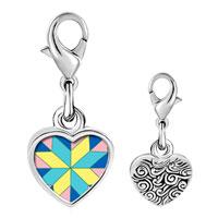 Link Charm Bracelet - 925  sterling silver multi color geometric figure star photo heart frame link charm Image.