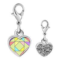 Link Charm Bracelet - 925  sterling silver multi color geometric figure photo heart frame link charm Image.