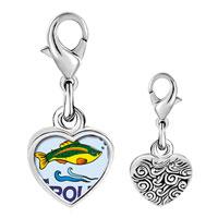 Link Charm Bracelet - 925  sterling silver trout photo heart frame link charm Image.