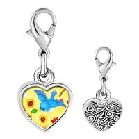 Link Charm Bracelet - 925  sterling silver bird photo heart frame link charm Image.
