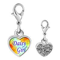 Link Charm Bracelet - 925  sterling silver daisy girl photo heart frame link charm Image.