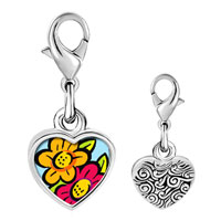 Link Charm Bracelet - 925  sterling silver hand painted flowers photo heart frame link charm Image.