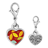Link Charm Bracelet - 925  sterling silver leaves photo heart frame link charm Image.