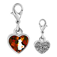 Link Charm Bracelet - 925  sterling silver color kitten photo heart frame link charm Image.