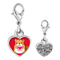 Link Charm Bracelet - 925  sterling silver mouse photo heart frame link charm Image.