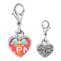 Link Charm Bracelet - 925  sterling silver lpn photo heart frame link charm Image.