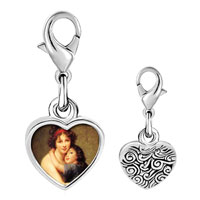 Link Charm Bracelet - 925  sterling silver mom and child photo heart frame link charm Image.