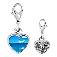 Link Charm Bracelet - 925  sterling silver catching fish photo heart frame link charm Image.