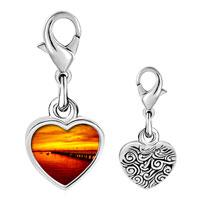 Link Charm Bracelet - 925  sterling silver sunset glow photo heart frame link charm Image.