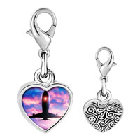 Link Charm Bracelet - 925  sterling silver airplane photo heart frame link charm Image.