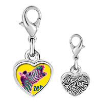 Link Charm Bracelet - 925  sterling silver zebra photo heart frame link charm Image.