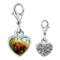 Link Charm Bracelet - 925  sterling silver buffalo and bird photo heart frame link charm Image.