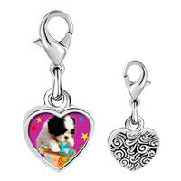 Link Charm Bracelet - 925  sterling silver poodle and present photo heart frame link charm Image.