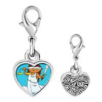 Link Charm Bracelet - 925  sterling silver blind justice photo heart frame link charm Image.