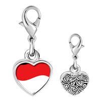 Link Charm Bracelet - 925  sterling silver indonesia flag photo heart frame link charm Image.