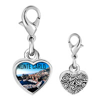 Link Charm Bracelet - 925  sterling silver monte carlo photo heart frame link charm Image.