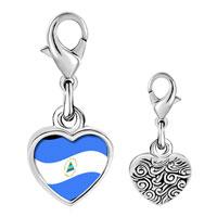 Link Charm Bracelet - 925  sterling silver nicaragua flag photo heart frame link charm Image.