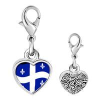 Link Charm Bracelet - 925  sterling silver quebec flag photo heart frame link charm Image.