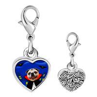 Link Charm Bracelet - 925  sterling silver puppy gentleman photo heart frame link charm Image.