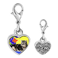 Link Charm Bracelet - 925  sterling silver cat photo heart frame link charm Image.