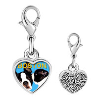 Link Charm Bracelet - 925  sterling silver boston terrier photo heart frame link charm Image.