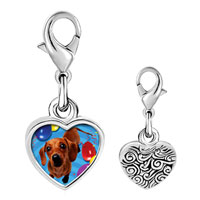 Link Charm Bracelet - 925  sterling silver balloon around puppy photo heart frame link charm Image.