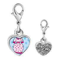 Link Charm Bracelet - 925  sterling silver dress and shoe photo heart frame link charm Image.