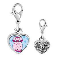 Link Charm Bracelet - 925  sterling silver dress and shoe photo heart frame link charm Image.