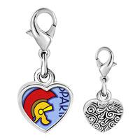 Link Charm Bracelet - 925  sterling silver spartan photo heart frame link charm Image.