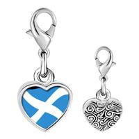 Link Charm Bracelet - 925  sterling silver flag photo heart frame link charm Image.