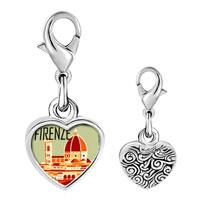 Link Charm Bracelet - 925  sterling silver firenze photo heart frame link charm Image.