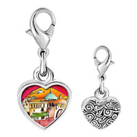 Link Charm Bracelet - 925  sterling silver hand painted photo heart frame link charm Image.