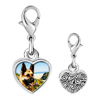 Link Charm Bracelet - 925  sterling silver dog photo heart frame link charm Image.