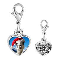 Link Charm Bracelet - 925  sterling silver llama photo heart frame link charm Image.