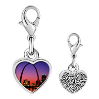Link Charm Bracelet - 925  sterling silver night scene photo heart frame link charm Image.