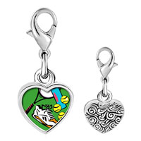 Link Charm Bracelet - 925  sterling silver sports equipment photo heart frame link charm Image.