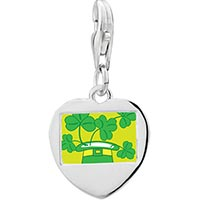 Link Charm Bracelet - 925  sterling silver yellow with beautiful cloverphoto heart frame link charm Image.